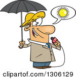 Cartoon White Weather Man Lying About Sunny Weather But Ready For Rain