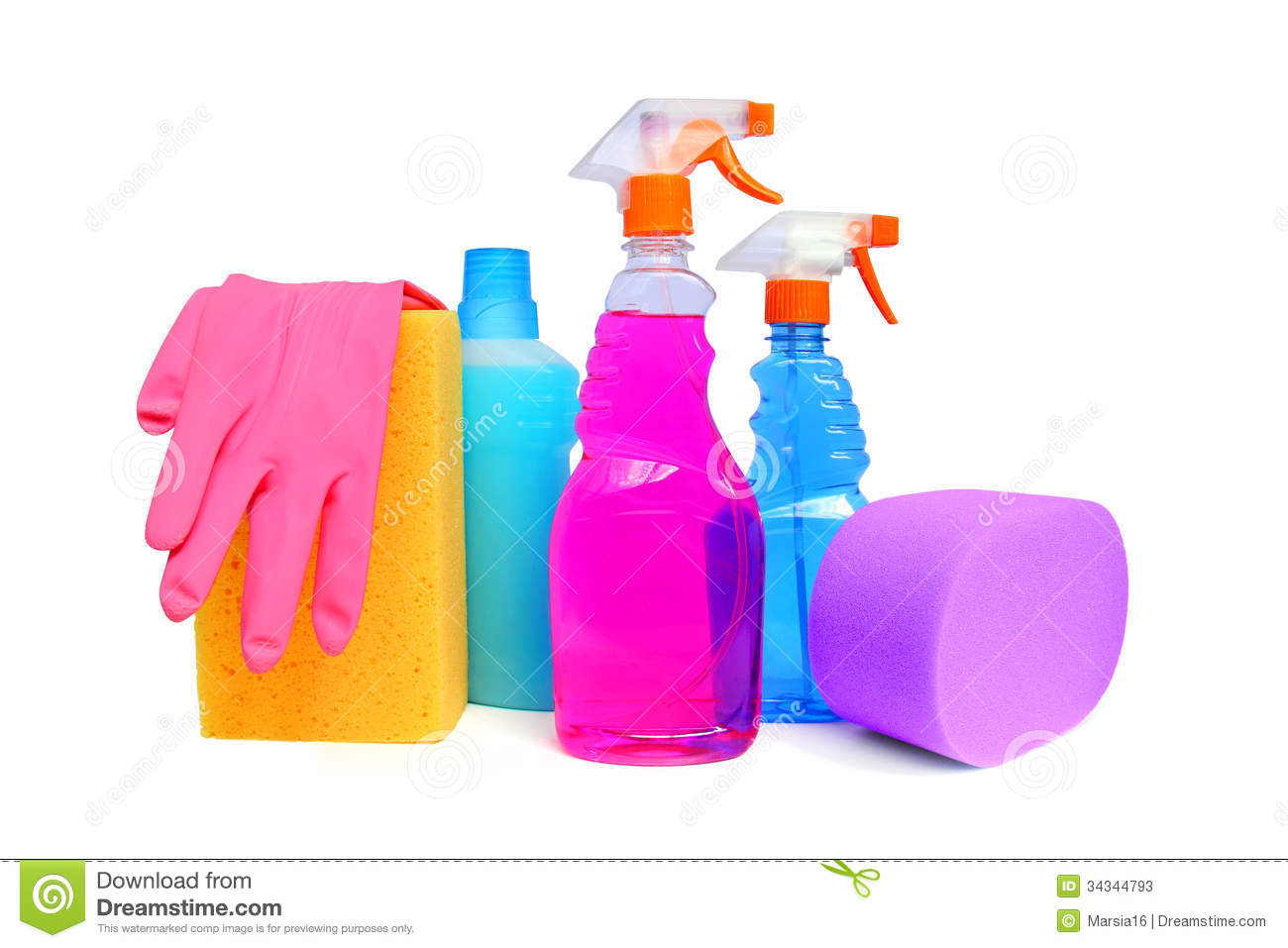 Cleaning Supplies On White Background Including Several Spray Bottles
