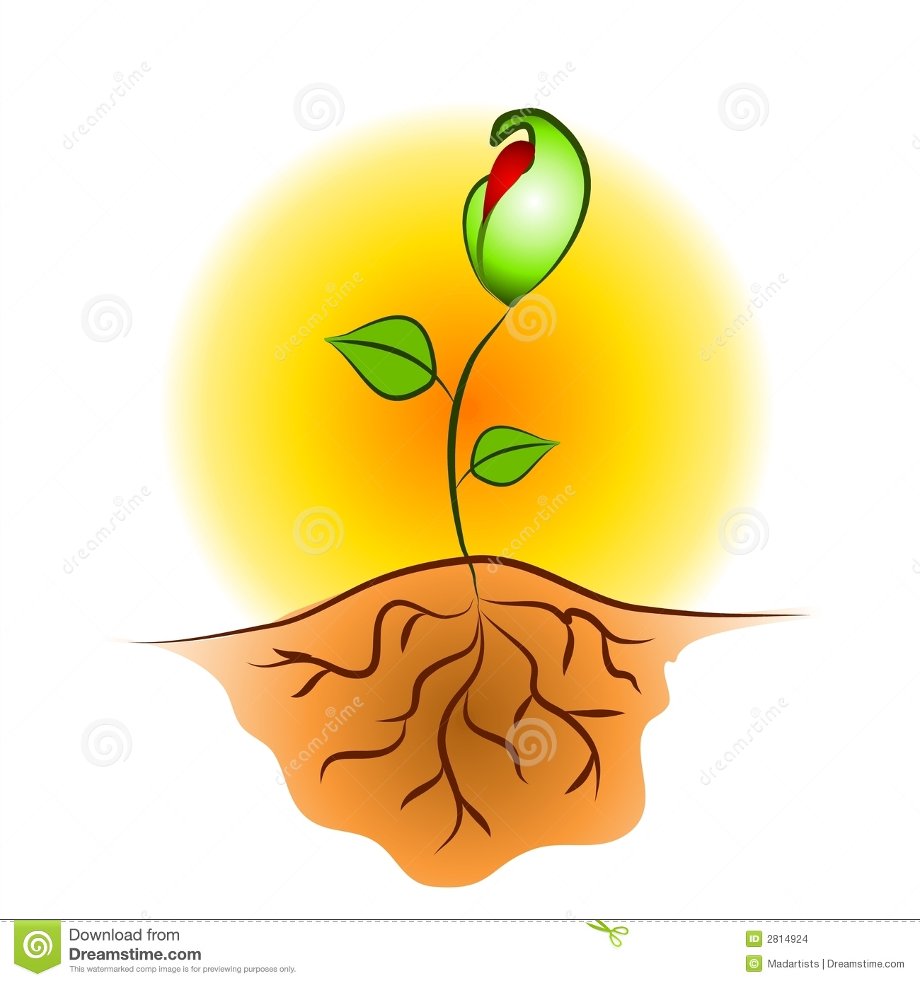 Clip Art Illustration Of A Young Seedling Plant Growing Against A