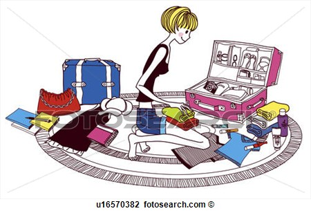 Clip Art   Young Woman Packing Suitcase Side View  Fotosearch