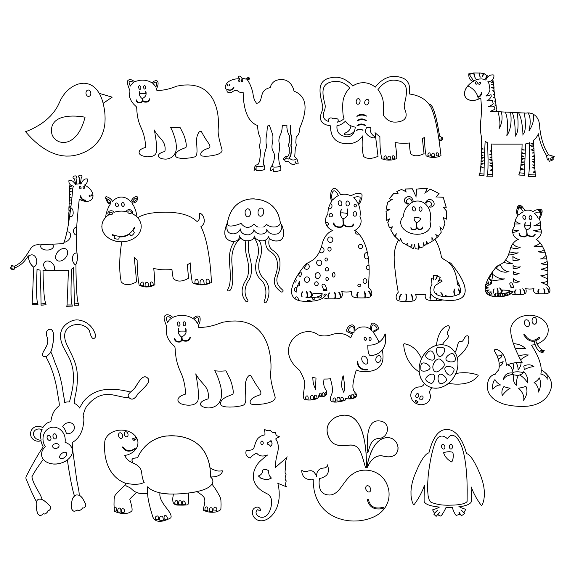 Line Art Animals : Animal black and white clipart suggest