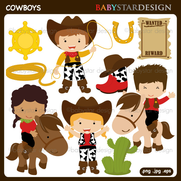 Little Cowboy Clipart - Clipart Kid