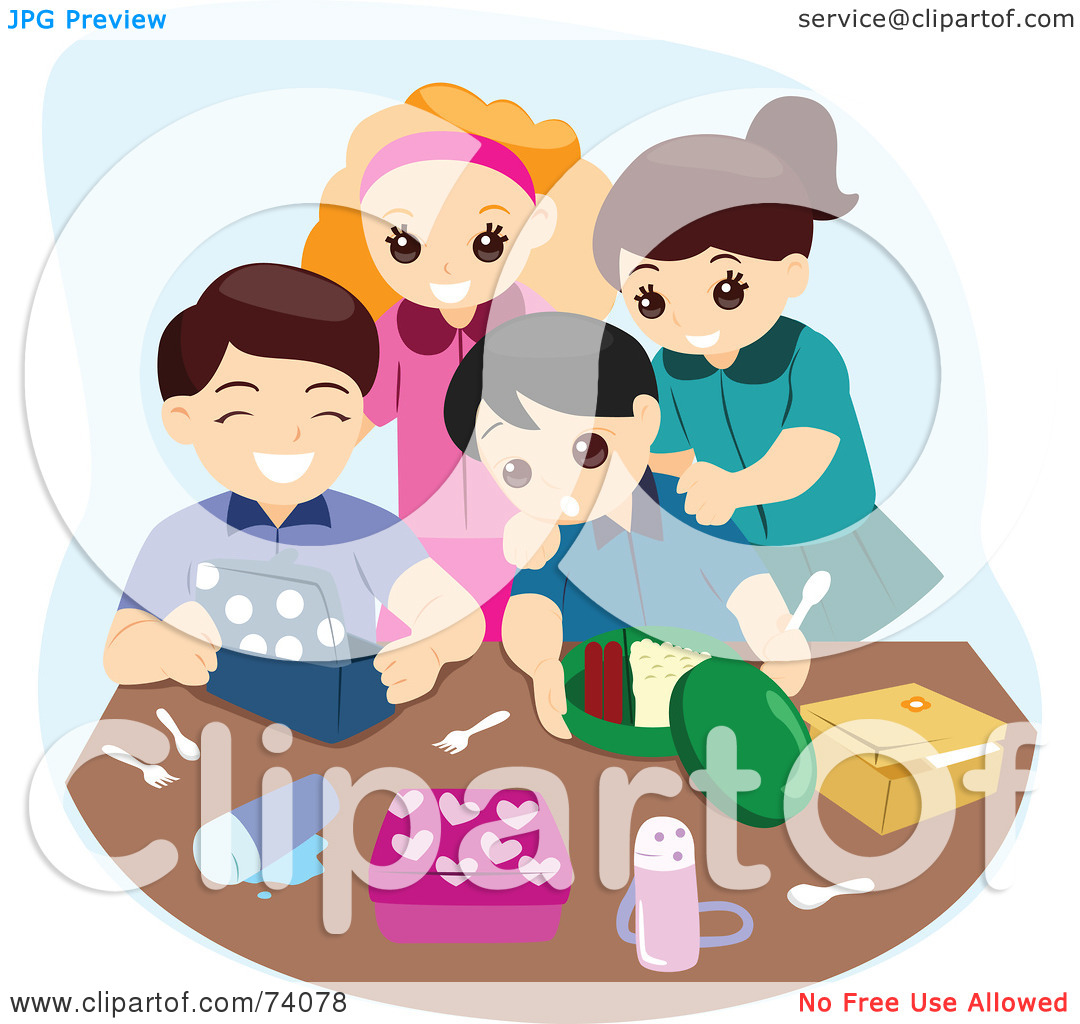 Free  Rf  Clipart Illustration Of A Group Of Happy Kids Unpacking