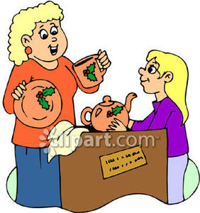 Girl And Her Mom Unpacking Christmas Dishes   Royalty Free Clipart