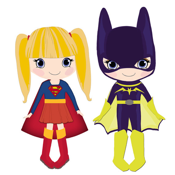 Items Similar To Supergirl And Batgirl Clip Art For Commercial And