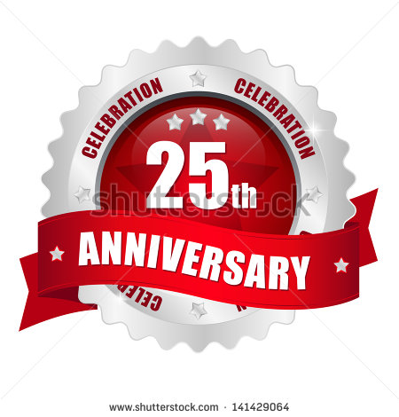 Red 25 Year Anniversary Button Shutterstock  Eps Vector   Red 25 Year