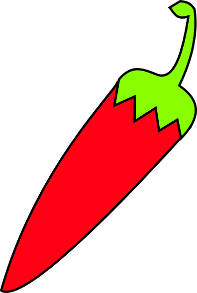 Red Chili With Green Tail Clip Art At Clker Com   Vector Clip Art