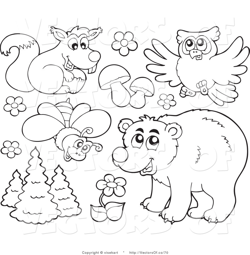 Line Drawings Of Woodland Animals : Forest clip art black and white cliparts