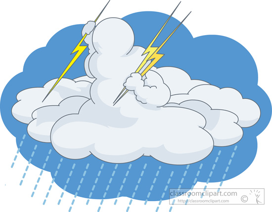 Weather Clipart  Cloud Holding Ready To Throw Thunder Bolts