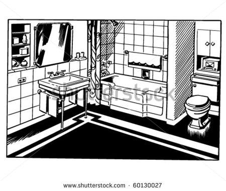 clip art black and white bathroom clipart clipart suggest. Black Bedroom Furniture Sets. Home Design Ideas