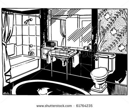 Clip Art Black And White Bathroom Clipart - Clipart Kid