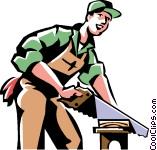 Carpenter Cutting Wood Vector Clip Art