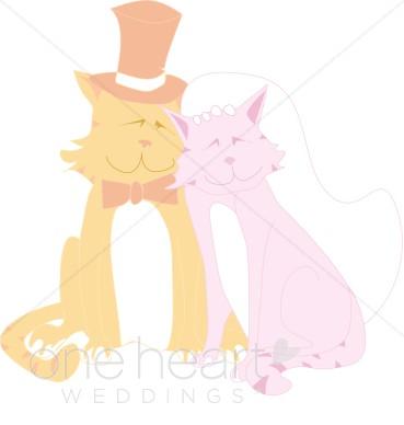 Cat Couple Clipart   Cartoon Wedding Clipart