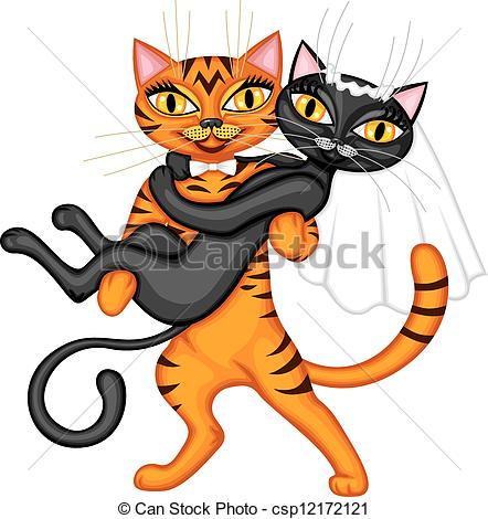 Cat Groom Holding A Black Cat Bride    Csp12172121   Search Clipart