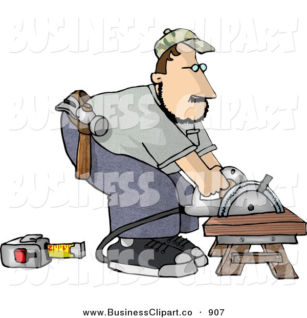 Clip Art Of A Male Carpenter Cutting Wood On A Sawhorse With A