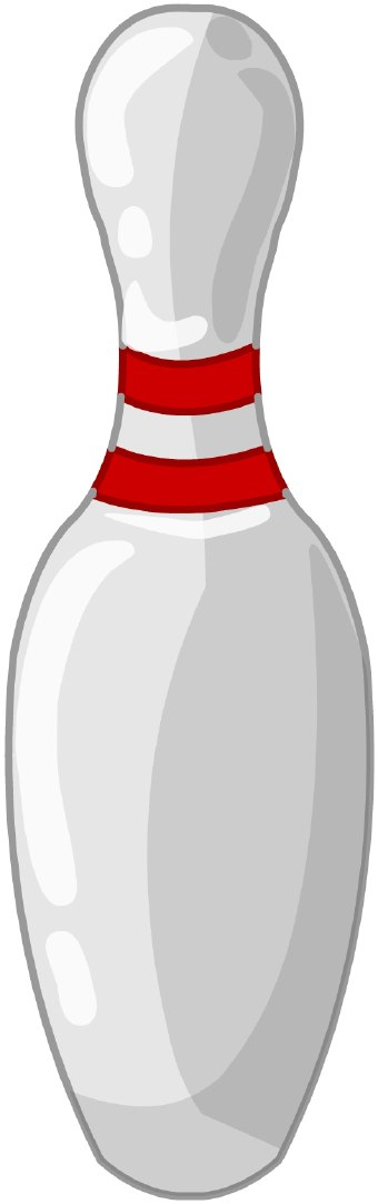 Clip Art Of A White Bowling Pin With Two Red Stripes