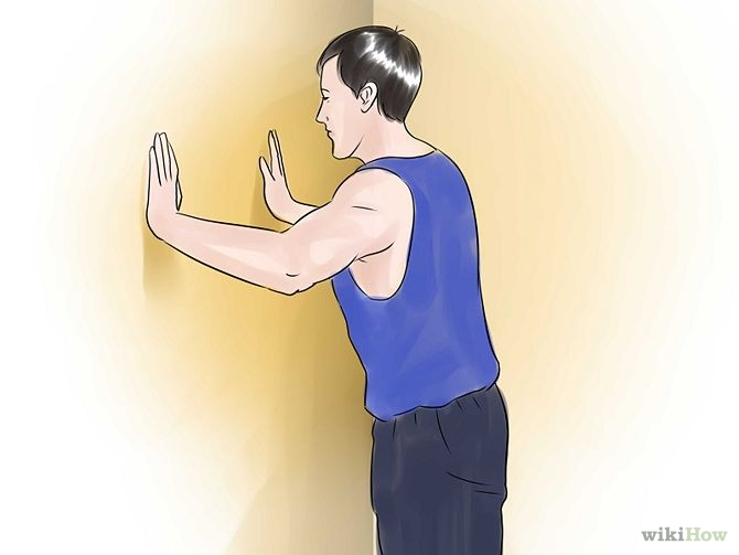 Lean Your Body Towards The Wall With Your Hands Touching The Wall