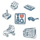 Love The 80s Doodles   Royalty Free Clip Art