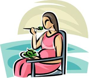 Pregnant Woman Eating A Salad   Royalty Free Clipart Picture