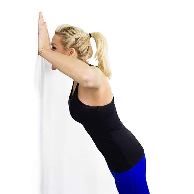 Press Your Body Toward The Wall As If Doing A Push Up  Exhale And Push