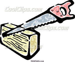 Saw Cutting A Piece Of Wood Vector Clip Art
