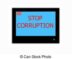 Slogan Stop Corruption On Television Screen Clip Art