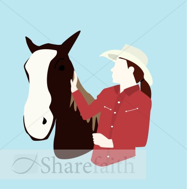 Stylized Horse And Owner   Church Activity Clipart