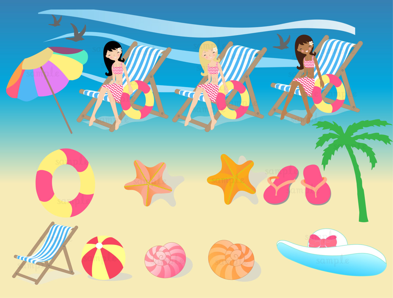 Summer Beach Girl Clip Art Set By 1everythingnice On Etsy