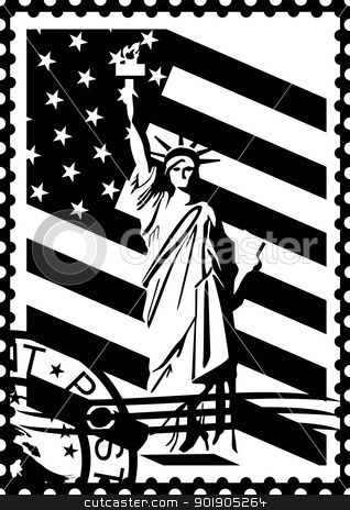 Postage Stamp Clip Art Black And White Stamps Black Clipart -...