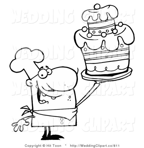 Vector Cartoon Marriage Clipart Of A Wedding Outlined Cake Chef By Hit