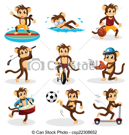 Vector   Monkey Doing Activity   Stock Illustration Royalty Free