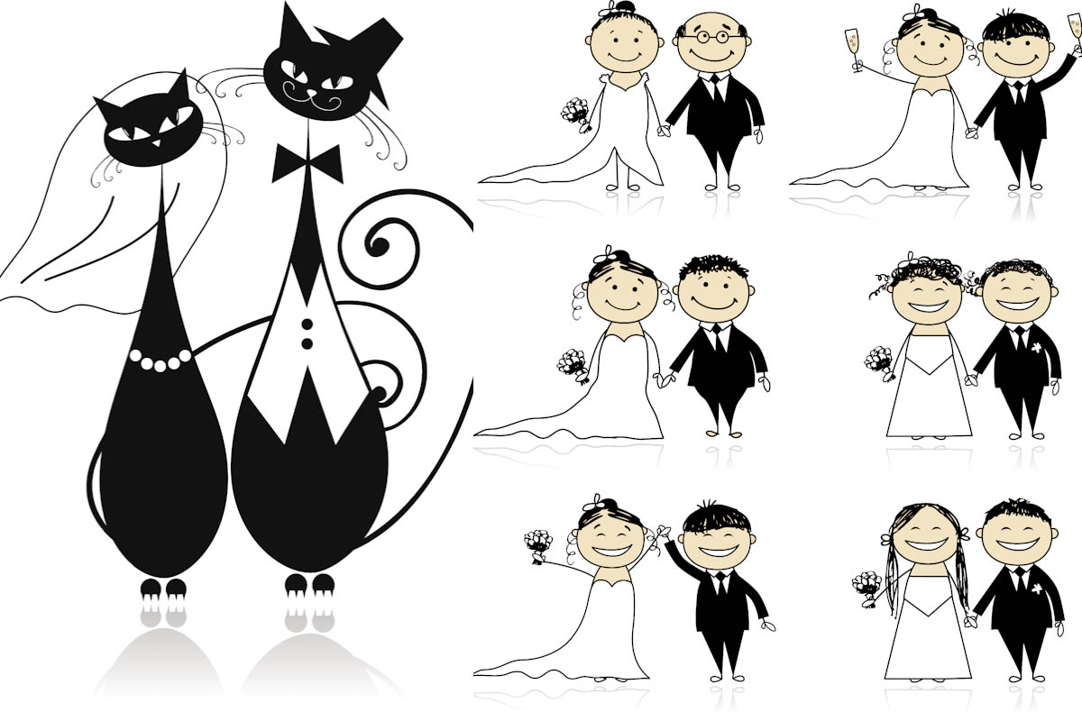 Wedding Illustrations With Cats And Bride With Groom For Your Wedding