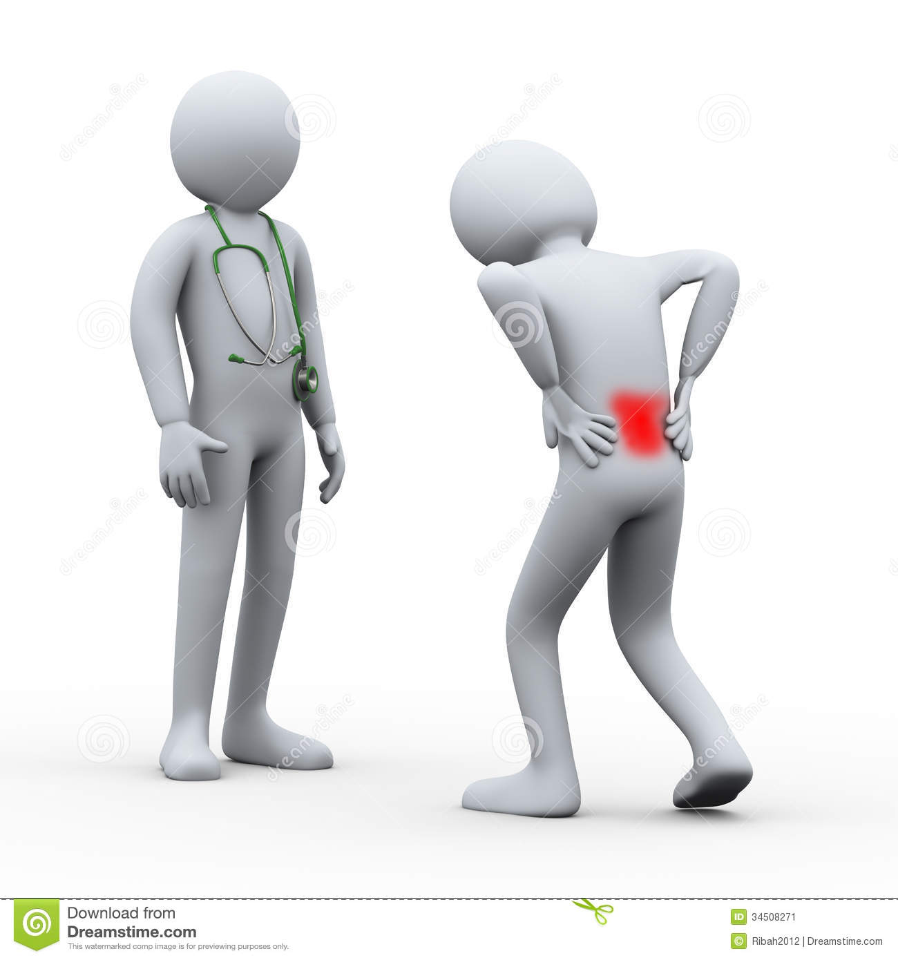 3d Person With Back Pain Visiting Doctor Stock Image   Image  34508271