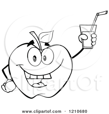 Black And White Apple Mascot Holding Up Juice