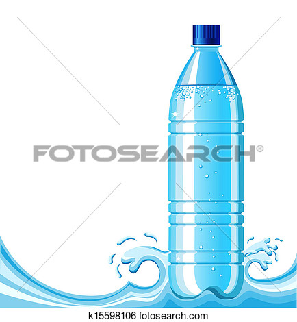 Bottle Of Clean Water And Splashing Background  Vector Illustration