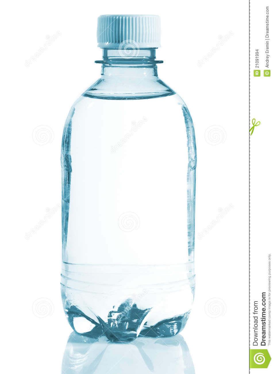Bottle Of Clear Water With Reflection On White Background