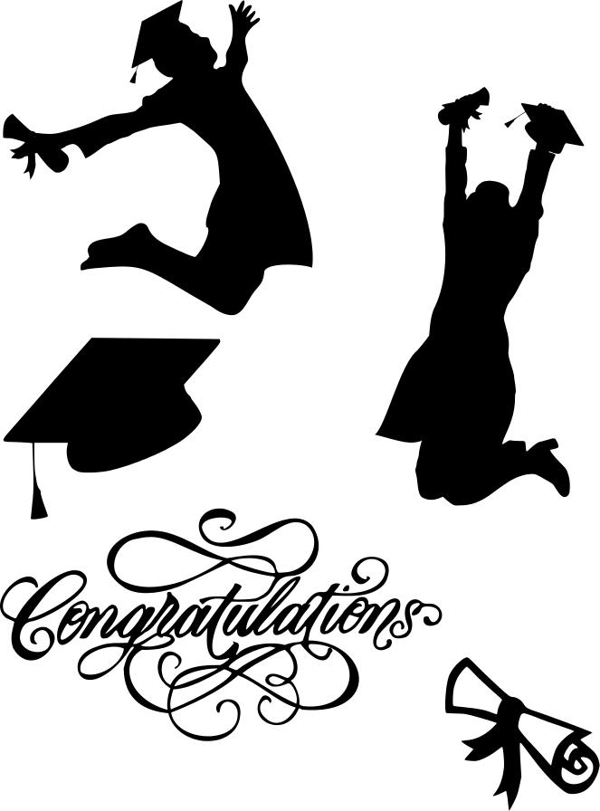 Jumping Graduate Silhouette Graduation Person Clipart Kid