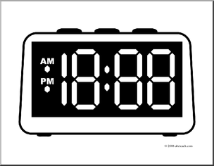 Clip Art  Clock Digital Blank Face  Coloring Page    Preview 1