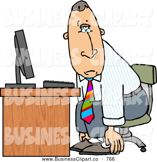 Clip Art Of A Exhausted Tired Businessman Sitting At A Computer Desk