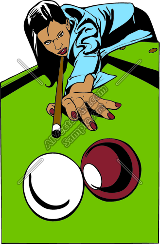 Clipart Vector Art Von Female Pool Player Billiards Clipart