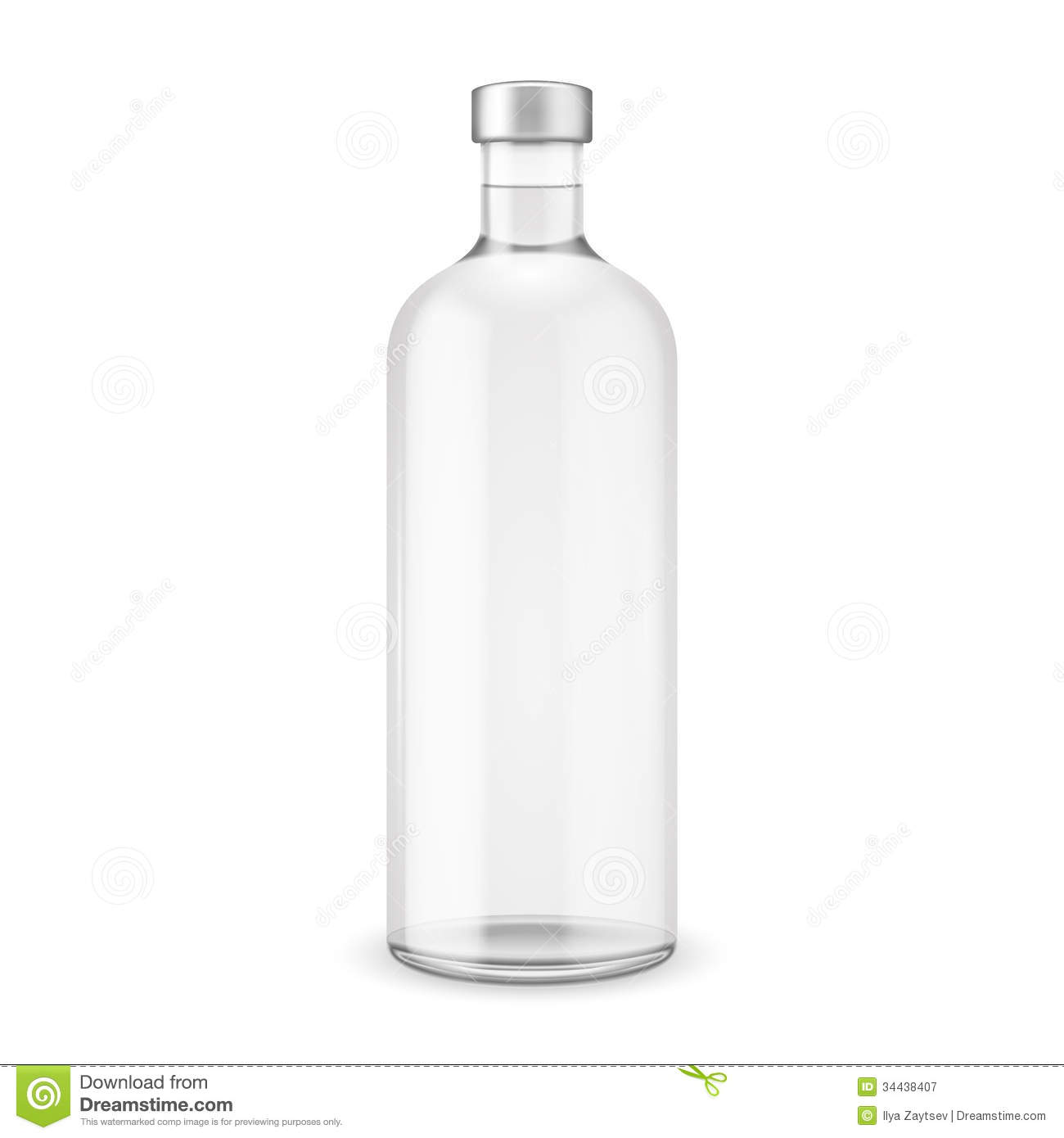 Glass Vodka Bottle With Silver Cap  Vector Illustration  Glass Bottle