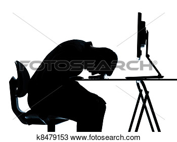 Photo Of One Business Man Silhouette Computer Computing Sleeping Tired