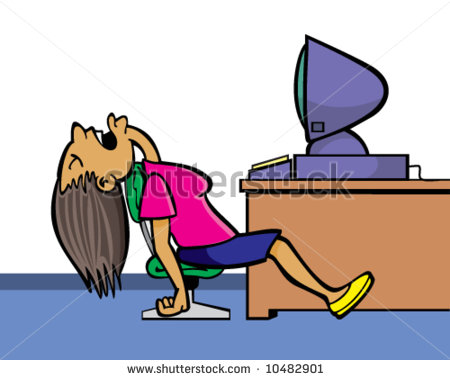 Vector Of Woman Sleeping In Office Near Computer Bored By Online