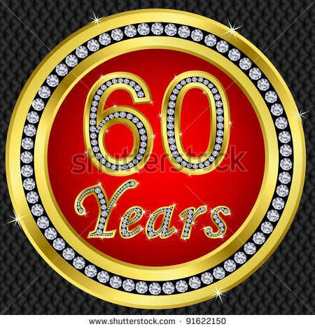 60 Years Anniversary Happy Birthday Golden Icon With Diamonds Vector