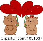 Clip Art Illustration Of A Hamster Couple Seeking Shelter Under Heart