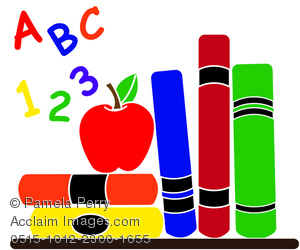 Clip Art Illustration Of School Supplies In A Classroom   Royalty Free