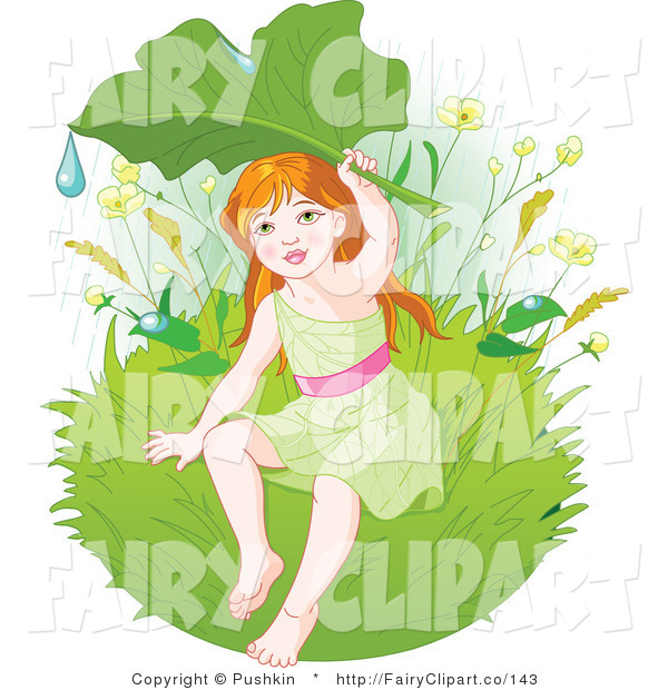 Clip Art Of A Fairy Seeking Shelter From The Rain Under A Leaf By