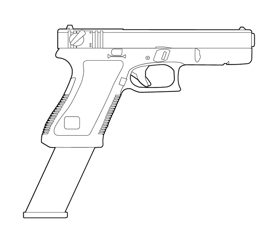 Line Art Gun : Mm glock clipart suggest