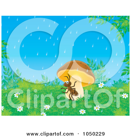 Royalty Free  Rf  Clip Art Illustration Of An Ant Seeking Shelter From