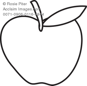 Apple Coloring Page With Leaf Royalty Free Clip Art Image